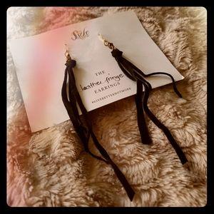 Black Leather Fringe Earrings & Free Gift